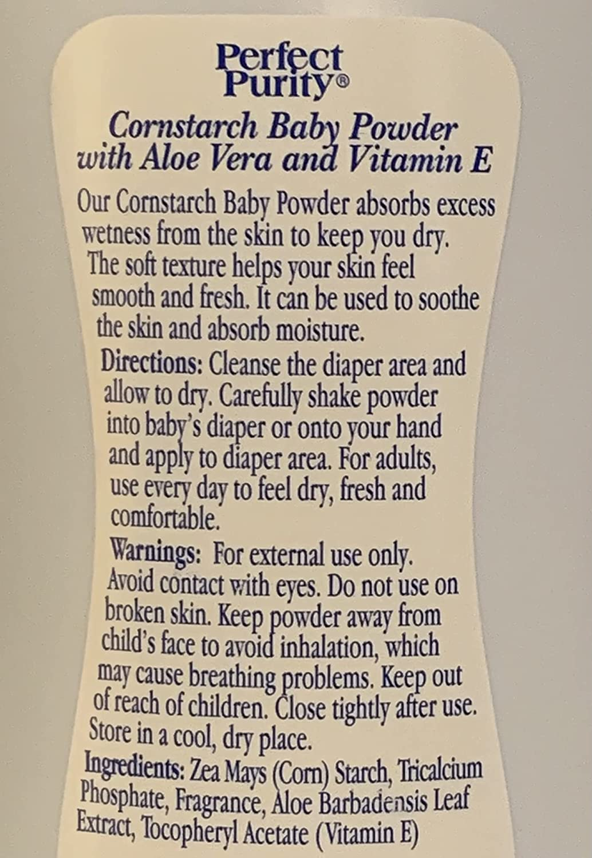 Perfect Purity Pure Cornstarch Baby Powder with Aloe and Vitamin E, 9 oz.