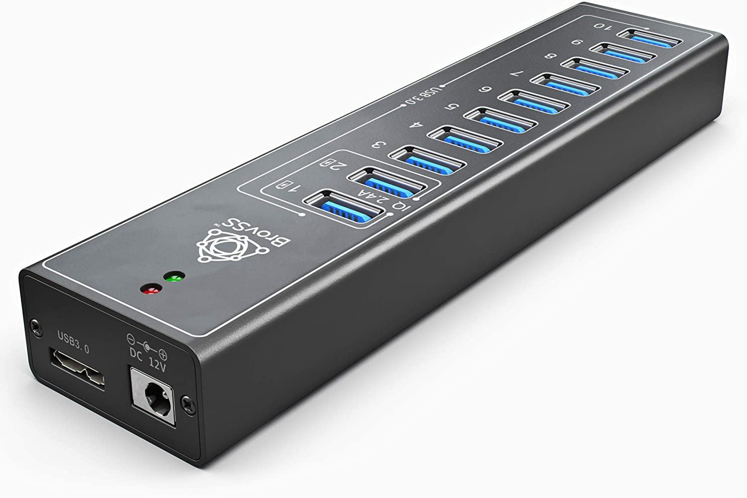 BrovSS: 10 Port Powered USB 3.0 Hub Aluminum with 4 IQ Ports - USB 3 Splitter with 12V 3A 36W Power Adapter. Connect up to 10 Electronics and USB peripherals (Black)