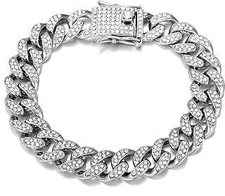 FEEL STYLE Iced Out Cuban Bracelet 8.5 inch Bling Zirconia Cuban Miami Link Bangle Jewelry for Men Women Hip Hop Bracelets...