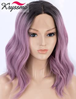 K'ryssma Short Bob Lace Front Wig Ombre Purple Synthetic Wigs for Women Ash Purple Wavy Wig with Dark Root sHeat Resistant