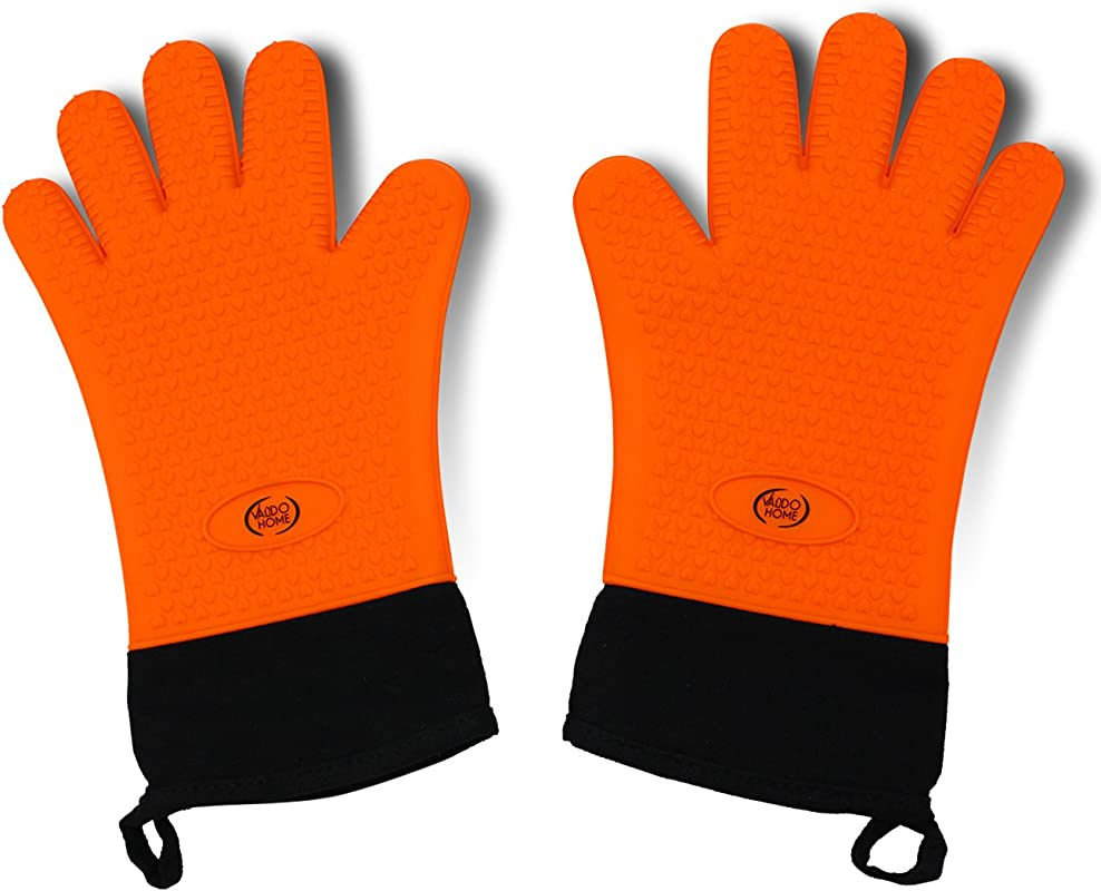 Valdo Home BBQ Grilling Gloves Heat Resistant Kitchen Silicone Oven Mitts Extra Long Waterproof Orange