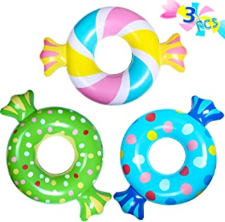 PARENTSWELL Inflatable Swim Rings (3 Pcs), Summer Candy Swimming Ring Pool Float for Kids Tube Party Toys for Fun Fiesta Water Supplies