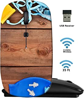 MSD Wireless Mouse 2.4G Travel Mice with USB Receiver, Noiseless and Silent Click with 1000 DPI for Notebook PC Laptop Computer MacBook Black Base Goggles Shells Swimsuit on a Wooden Background Set f