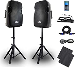 PA Speakers Bluetooth System 12 Inch Active & Passive Powered Speakers Wired Microphone,MP3/USB/SD/FM Radio/AUX INPUT.Dust Bag,Speaker Stands,Remote Control