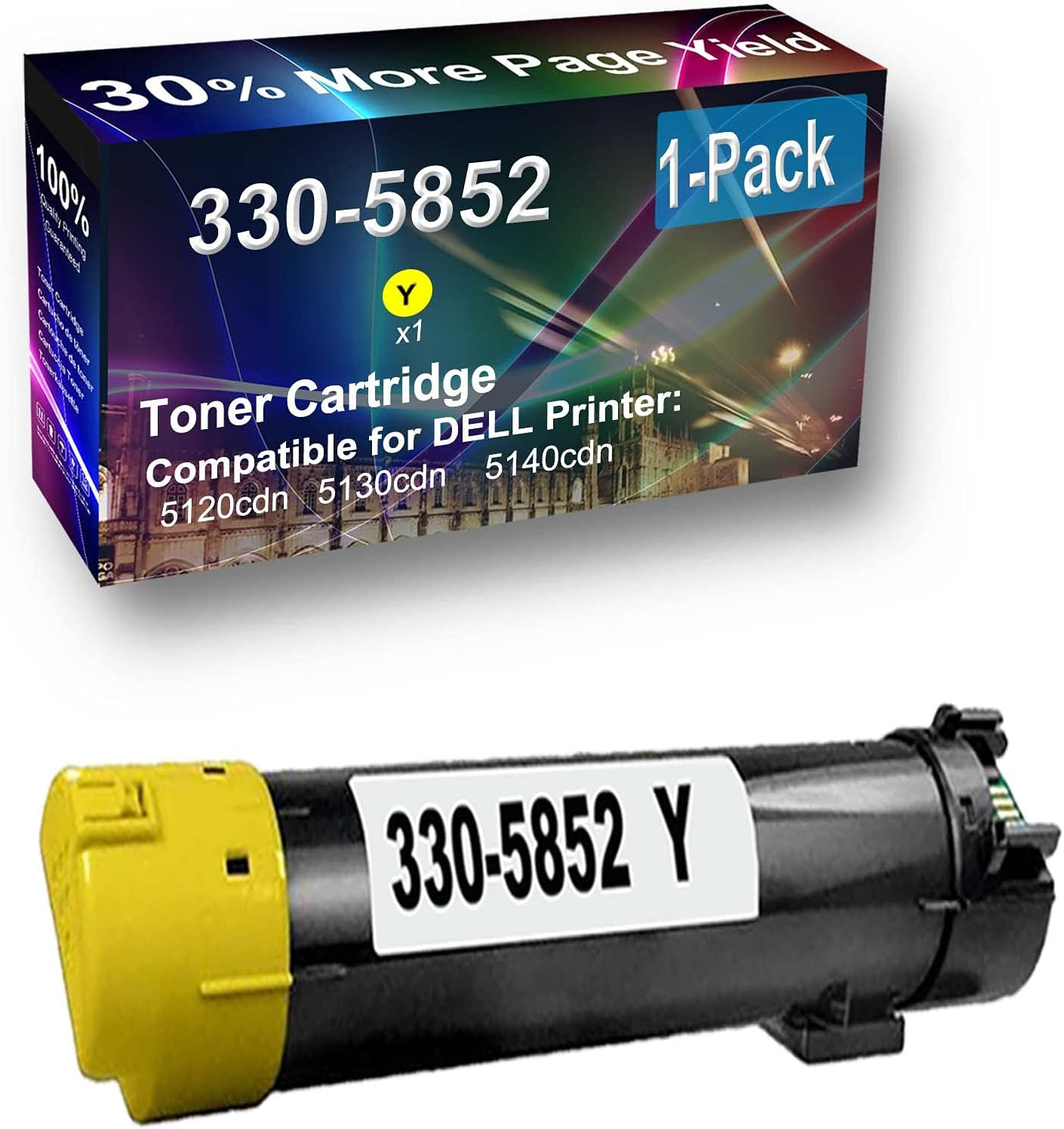 1-Pack (Yellow) Compatible High Capacity 330-5852 Toner Cartridge Used for Dell 5120cdn Printer