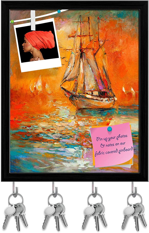 Artzfolio Artwork of Sail Ship & Sea D6 Key Holder Hooks   Notice Pin Board   Black Frame 16 X 19.8Inch