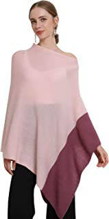 Women's Cashmere Poncho Solid Knit Asymmetric Sweater Wrap Pullover Topper