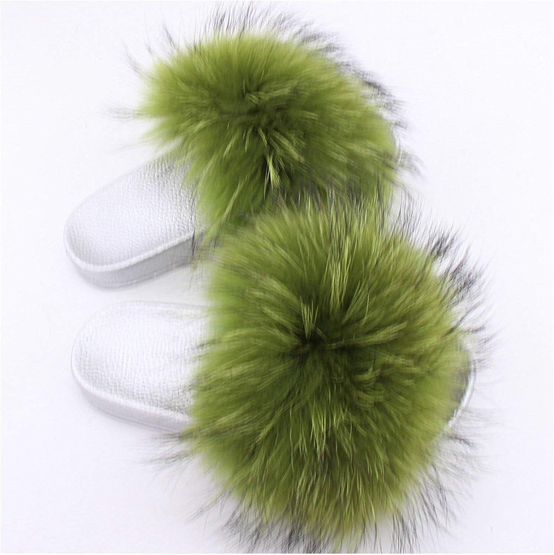 Shine-hearty Raccoon Fur Slides Slippers Flip Flops Open Toe Flat Sandals Fluffy Slippers Sliders shoes
