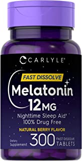Carlyle Melatonin 12 mg Fast Dissolve 300 Tablets | Nighttime Sleep Aid | Natural Berry Flavor | Vegetarian, Non-GMO, Glut...