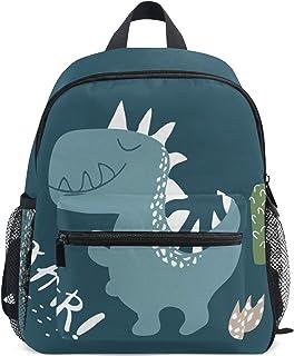 Mochila para niños, diseño de Oso Panda Dibujado a Mano para Estudiantes de niños y niñas, Correa para el Pecho Azul Dinosaurio 086 Talla única