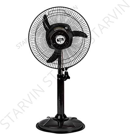 Starvin Happy Home || Laurels || Mini Pedestal Fan || ISI Approved Copper Motor || 1 Year Warranty || Sweep- 300 MM, 12 Inches metal body, gray m-34