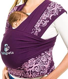 babypeta bebé sling Organic Infant Carrier y recién nacidos wrap-premium algodón/spandex mezcla para acogedor suavidad y confort ajustable–Manos Libres para bebé (para madres