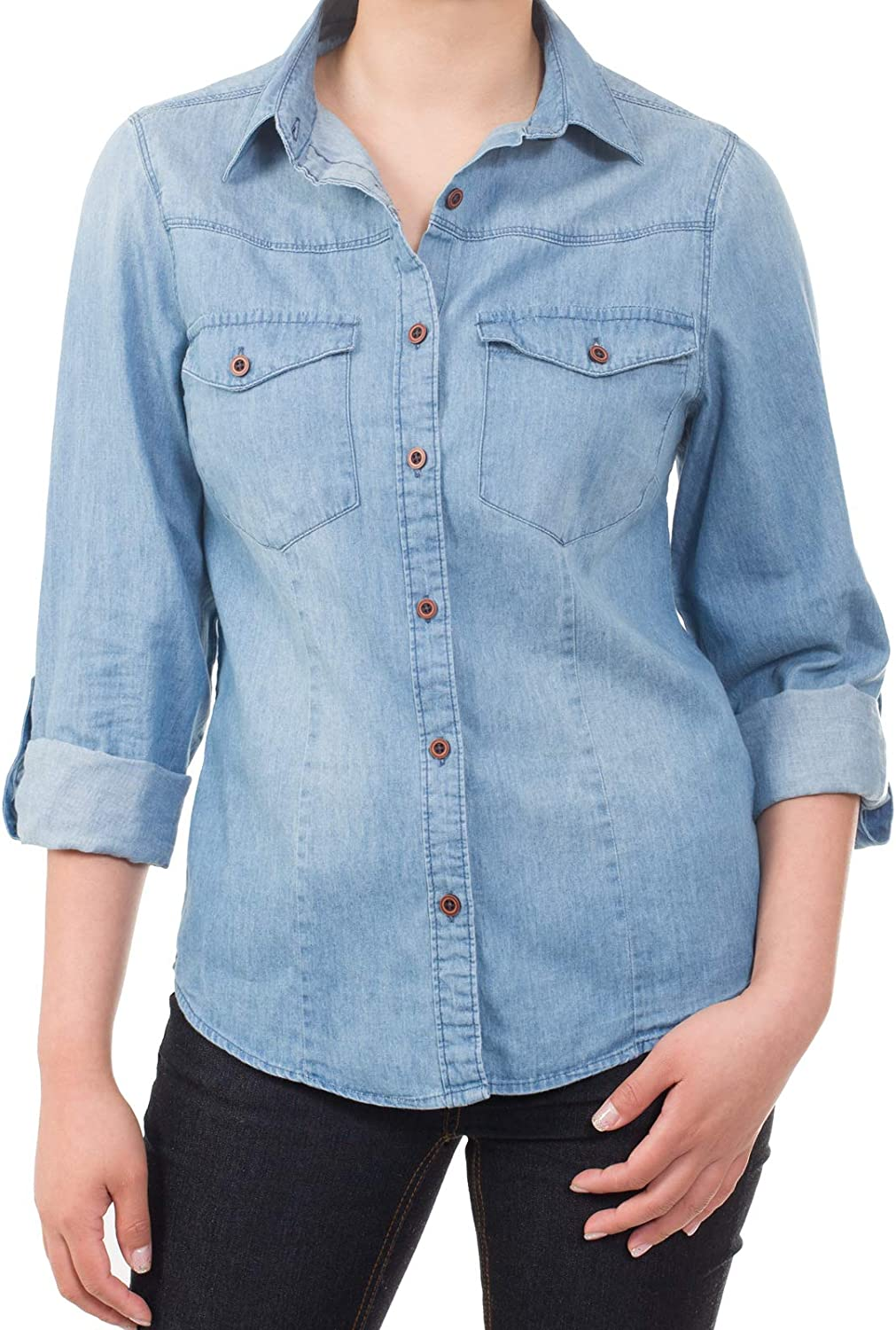 MixMatchy Women's Casual Daily Long/Roll Up Sleeve Button Down Denim Chambray Shirt (S-3XL)