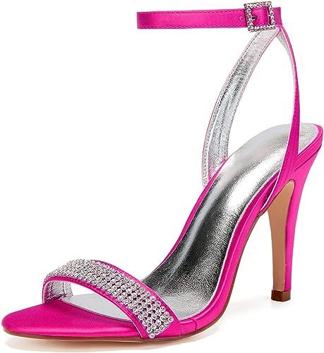 L@YC mujeres Toe Kitten Sparkly Prom Wedding Chunky Buckle Tamaño De La Novia 8 Marfil High Heels Mary Jane   10.5 Cm Heel