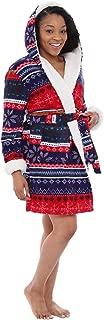 Alexander Del Rossa Womens Sherpa Short Hooded Robe, Soft Bathrobe