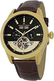 Herzog & Söhne men's automatic Watch with black Dial analogue Display and brown leather Strap HS512-275