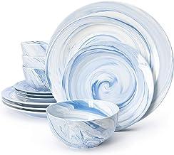 Divitis Home Fusion Porcelain Dinnerware Set 12 Piece, Blue Round Plates (Soup Bowls, Dinner Plates, Salad Plates), Porcel...