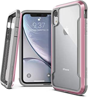 X-Doria Defense Shield, iPhone XR Case - Military Grade Drop Tested, Anodized Aluminum, TPU, and Polycarbonate Protective Case for Apple iPhone XR, 6.1 Inch LCD Screen (Rose Gold)