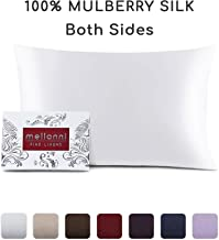 "Mellanni Silk Pillowcase for Hair and Skin - Both Sides 100% Pure Natural Mulberry Silk - 19 Momme - Hidden Zipper ClosurePillow Case- Hypoallergenic (Queen 20"" X 30"", White)"