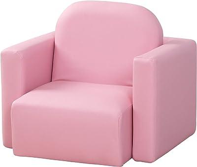 HOMCOM Fauteuil Enfant Ensemble Chaise Table 2 en 1 pour Enfant revêtement synthétique Rose