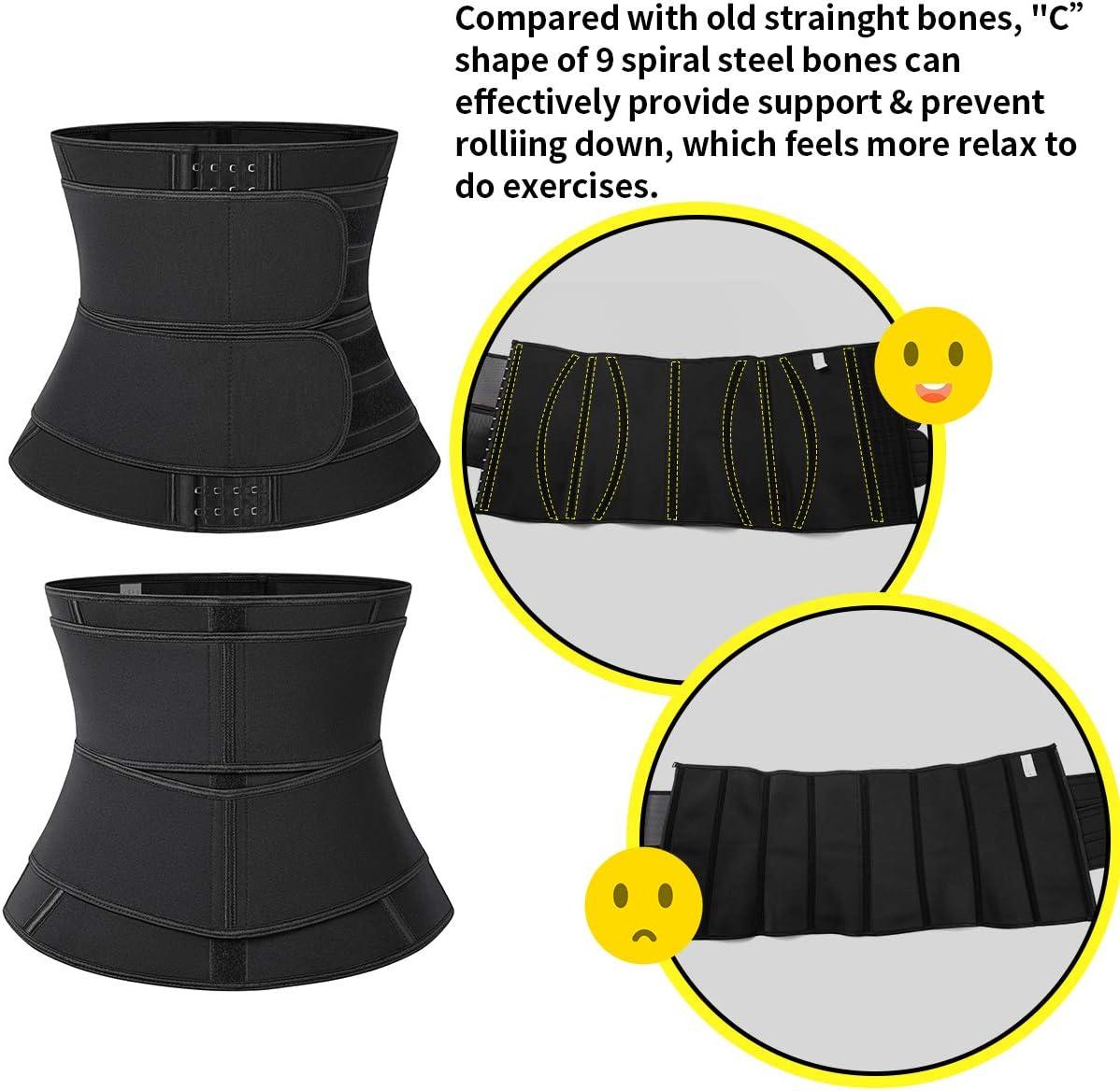 SLIMBELLE Waist Trainer Double Compression Waist Trimmer Sauna Belt Sweat Body Shaper Sweat Belt Back Support Sweat Band Workout Waist Cincher