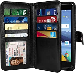 NEXTKIN Case Compatible with LG K8V VS500, Leather Dual Wallet Folio TPU Cover, 2 Large Pockets Double flap, Multi Card Slots Snap Button Strap For LG K8V VS500 - Black