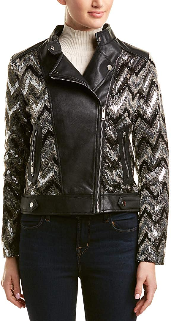 Nanette Lepore Women's Vegan Leather with Sequins SEAL limited product Biker Our shop OFFers the best service Jacket