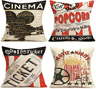SmilyardMovie Theater Cinema Throw Pillow Covers Vintage Cinema Ticket with Popcorn Throw Pillow Case 18x18 Inch Cotton LinenPersonalized Home Decor Cushion Cover for Sofa Set of 4 (Cinema Set)