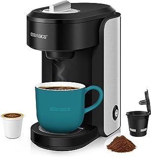 EZBASICS Single Serve Coffee Maker Brewer Compatible with K-Cup Pod, Ground Coffee & Loose-Leaf Tea, Black, Mini Coffee Ma...