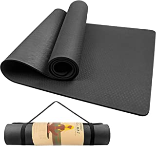 ヨガマット Stillcool トレーニングマット エクササイズマット 収納ケース付 おしゃれ ダイエット器具 yoga ゴムバンド 滑り止め 筋トレマット 6mm ダイエット ピラティス ブラック