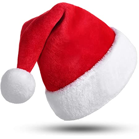 EMAGEREN 2 Pcs Santa Hat Unisex Christmas Hat Soft Plush Xmas Holiday Hat Thicken Classic Fur Xmas Santa Hat Father Christmas Hat Velvet Comfort Santa Claus Hats for Christmas New Year 30*43cm Adult
