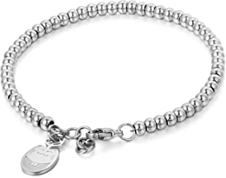JewelryWe Joyería Pulsera De Suerte para Mujer, Acero Inoxidable Pulido, Bolas Bolitas Estilo Sencillo, Colgante Gato Ador...