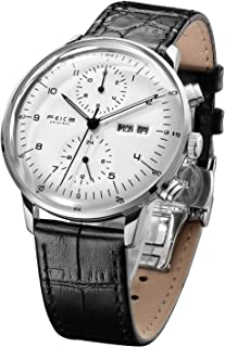 FEICE Men's Mechanical Watch Bauhaus Automatic Watch Stainless Steel Self-Winding Wrist Watches Casual Dress Watches for Men with Leather Bands Date Calendar -FM121