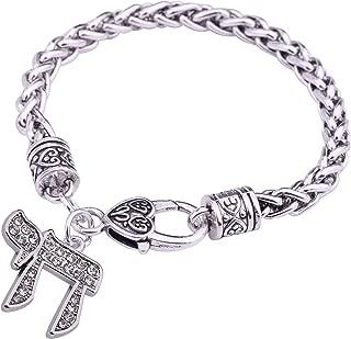 VASSAGO Ancient Jewish Hebrew Letter Chai Amulet Pendant Good Luck Symbol Wheat Chain Bracelet