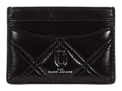 Marc Jacobs The Quilted Softshot Card Case (Black) Wallet Handbags