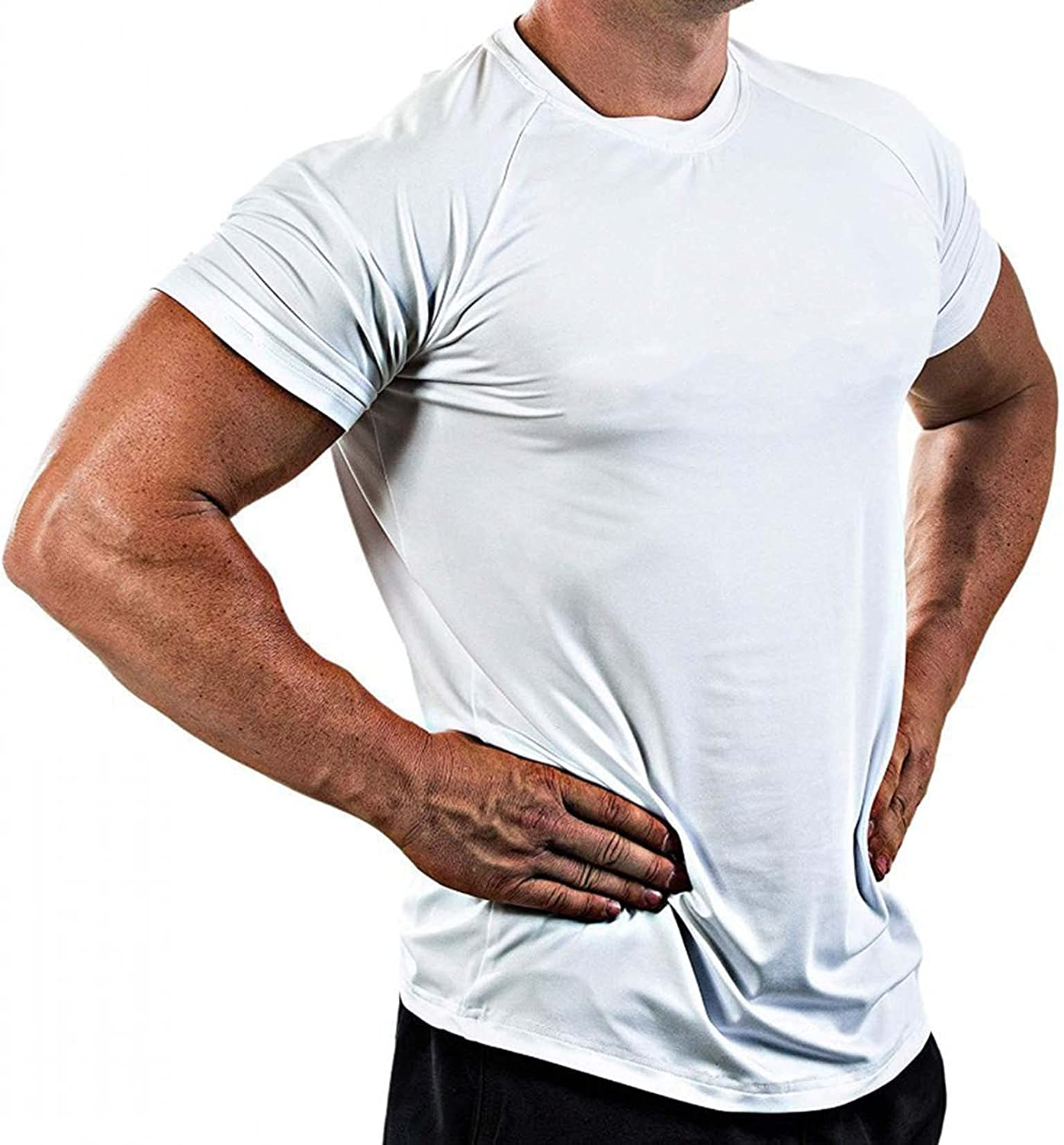 Athletic T-Shirts for Men Fashion Casual Big and Tall Solid Color Gym Muscle Tee Tops