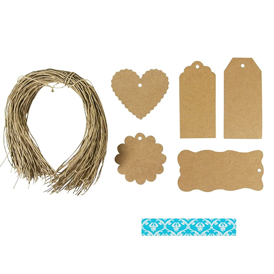 Wrapables 30 Gift Tags/Kraft Hang Tags with Free Cut String and 1 Washi Roll for Gifts Crafts and Price Tags, Damask Blue Crest