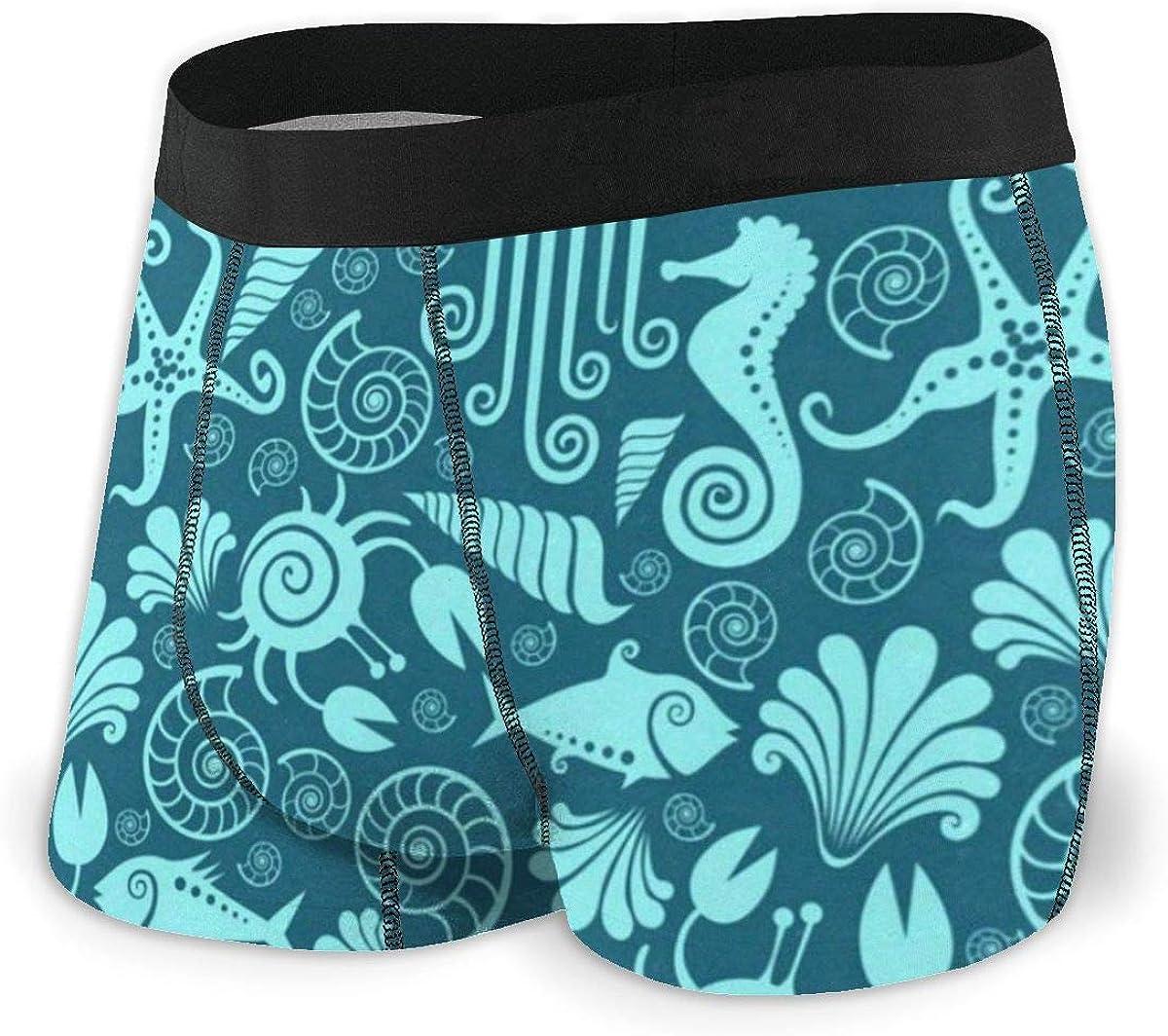 Mens Boxer Briefs Underwater Sea Horse Jellyfish Turquoise Breathable Underwear