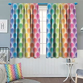 SeptSonne-Home Trippy Decor Blackout Window Curtain Rainbow Colors Abstract Gradient Toned Leaf Pattern Digital Soft Pastel Design Customized Curtains 52