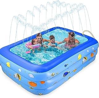 GOLDGE - Piscina hinchable cuadrada, hinchable, rectangular, para jardín, exterior, fiesta en el agua de verano, juego fác...