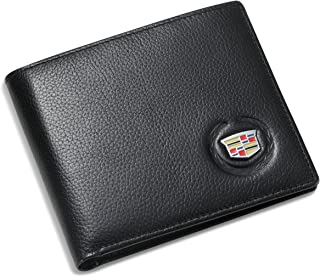 Cadillac Bifold Wallet with 3 Credit Card Slots and ID Window - Genuine Leather