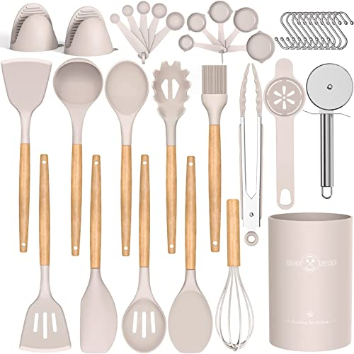 discount Umite Chef 27pcs Silicone Kitchen Cooking Utensils sale with Holder, Heat Resistant Cooking Utensils Sets Wooden Handle, Khaki discount Nonstick Kitchen Gadgets Tools Include Spatula Spoons Turner Pizza Cutter outlet online sale