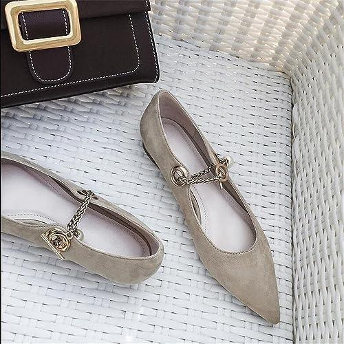 Xue Qiqi Escarpins Pointu Plat avec des Perles à Talons Bas Pieds Bouche Peu Profonde Chaussures en Daim Mode Sauvage Chaussures décontractées, 36, Abricot