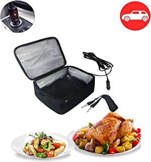 Portable Oven 12V Personal Car Food Warmer for Prepared Meals Reheating & Raw Food Cooking Reheating at work For Driving, Food Warmer with Lunch Bag for Car 12V Druck/Picnic/Camping(Black)