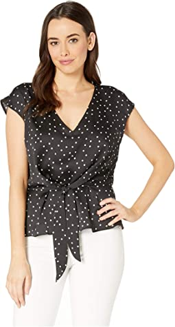 Extend Shoulder Crisp Polka Dot Tie Front Blouse