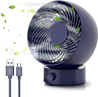 Tencoz Ventilador USB, Ventilador de Mesa Mini Ventilador USB Silencioso Puede Ajustar hacia Arriba y hacia Abajo 20 ° Ventilador de Escritorio para Coche, Oficina, Hogar, Viajes, Camping