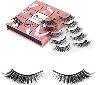 3D Fake Eyelashes Wenida 5 Pairs 100% Handmade Reusable Dramatic Thick Crisscross Long Fluffy False Eyelashes
