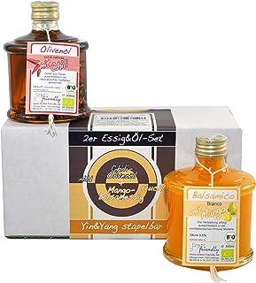 direct&friendly Bio Geschenkset Yin und Yang formschöne Stapelflaschen mit mildem Chili-Olivenöl und fruchtigem Mango-Balsamessig