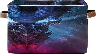 PUXUQU Panier de rangement pliable de style gothique Dragon Galaxy avec poignées pour placard, étagères, jouets, bureau, c...
