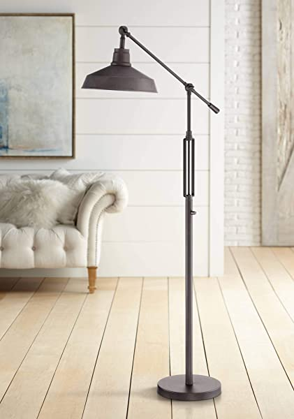 Turnbuckle Industrial Downbridge Floor Lamp LED Oil Rubbed Bronze Adjustable Metal Shade For Living Room Reading Bedroom Franklin Iron Works
